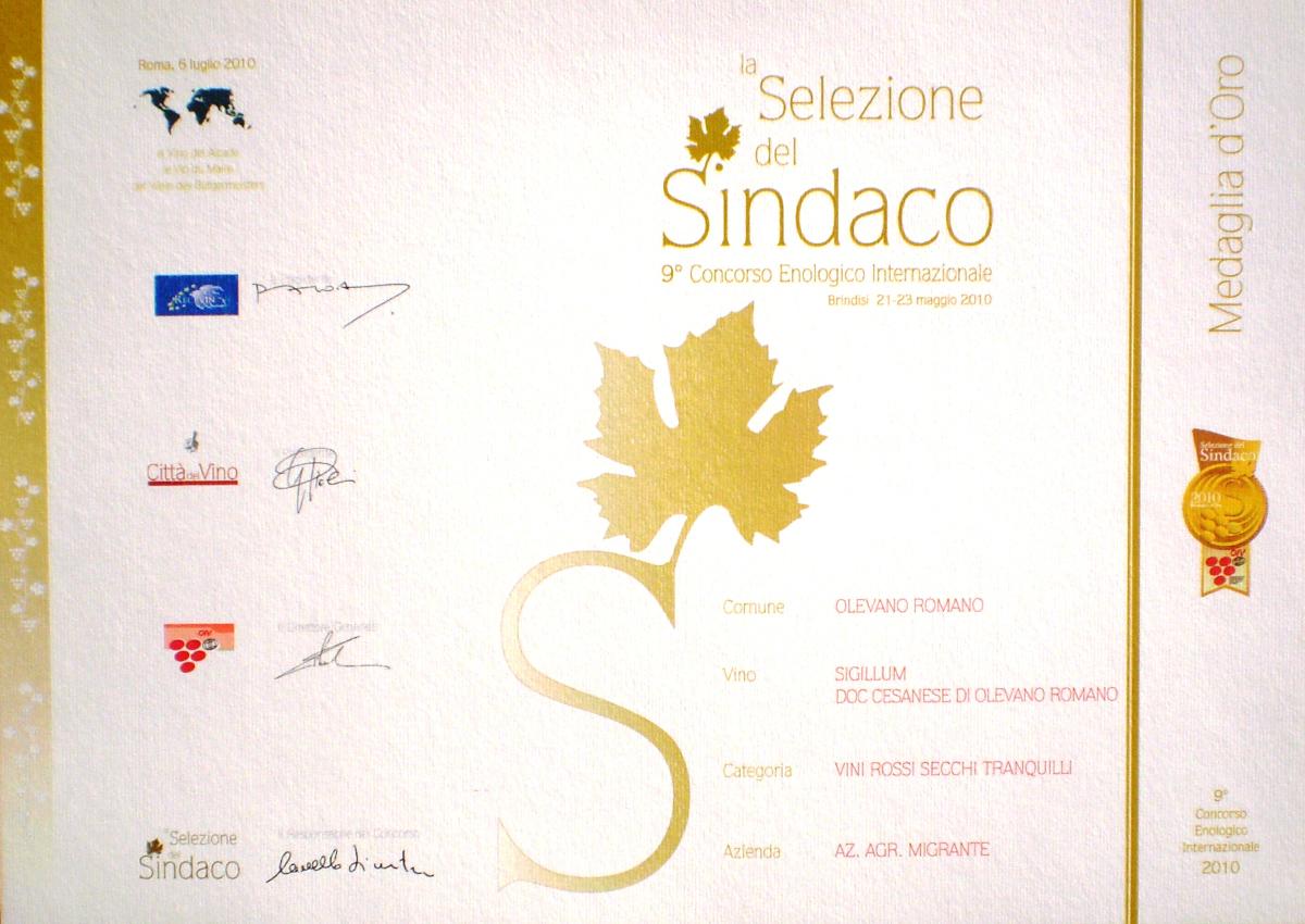 Selezione del Sindaco 2010 - Azienda Agricola Migrante - Cesanese di Olevano Romano