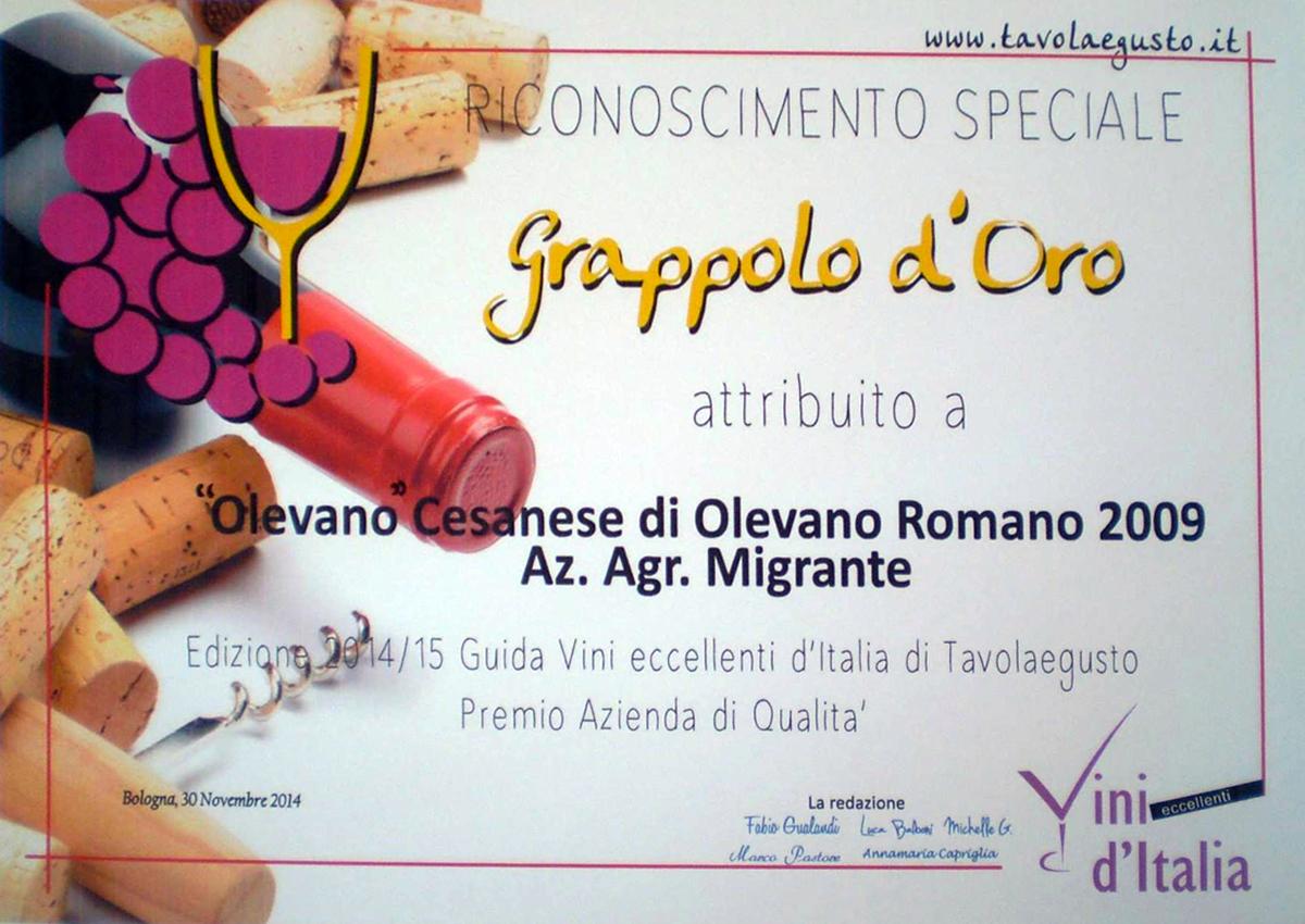 Grappolo d'Oro 2014 - Azienda Agricola Migrante - Cesanese di Olevano Romano