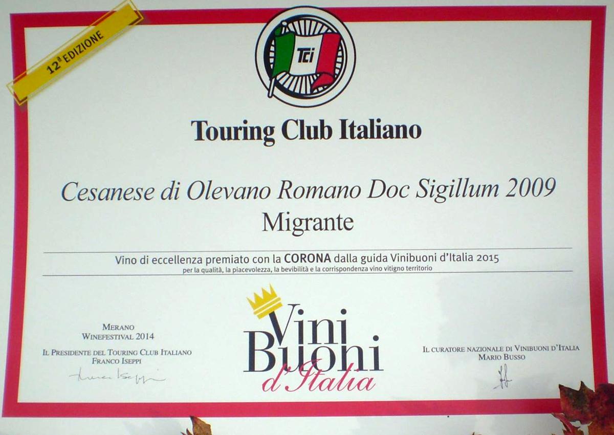 Vini Buoni d'Italia 2015 - Azienda Agricola Migrante - Cesanese di Olevano Romano