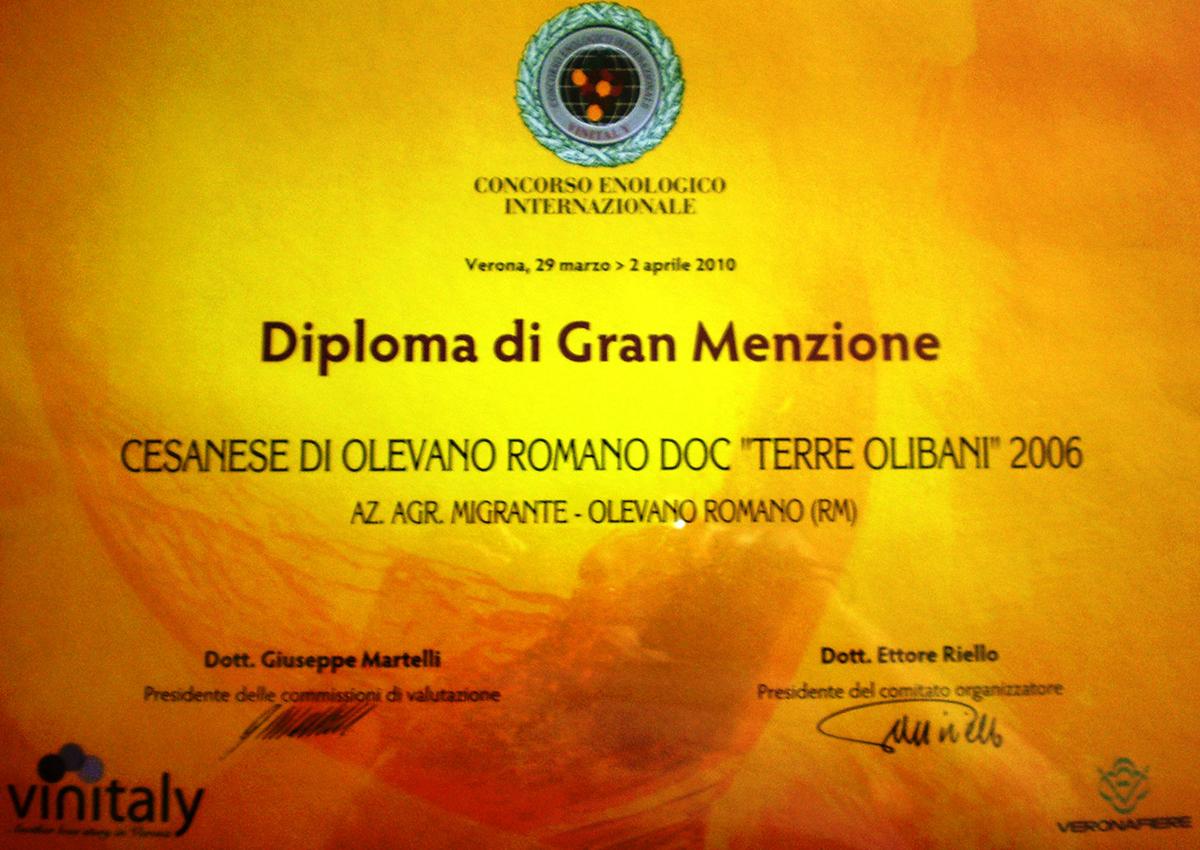 Diploma di Gran Menzione 2010 - Azienda Agricola Migrante - Cesanese di Olevano Romano