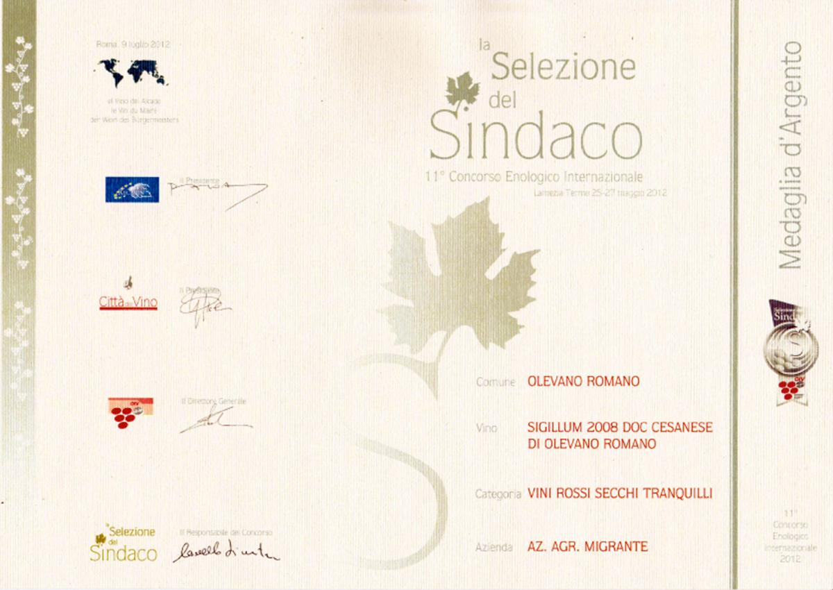 Selezione del Sindaco 2012 - Azienda Agricola Migrante - Cesanese di Olevano Romano