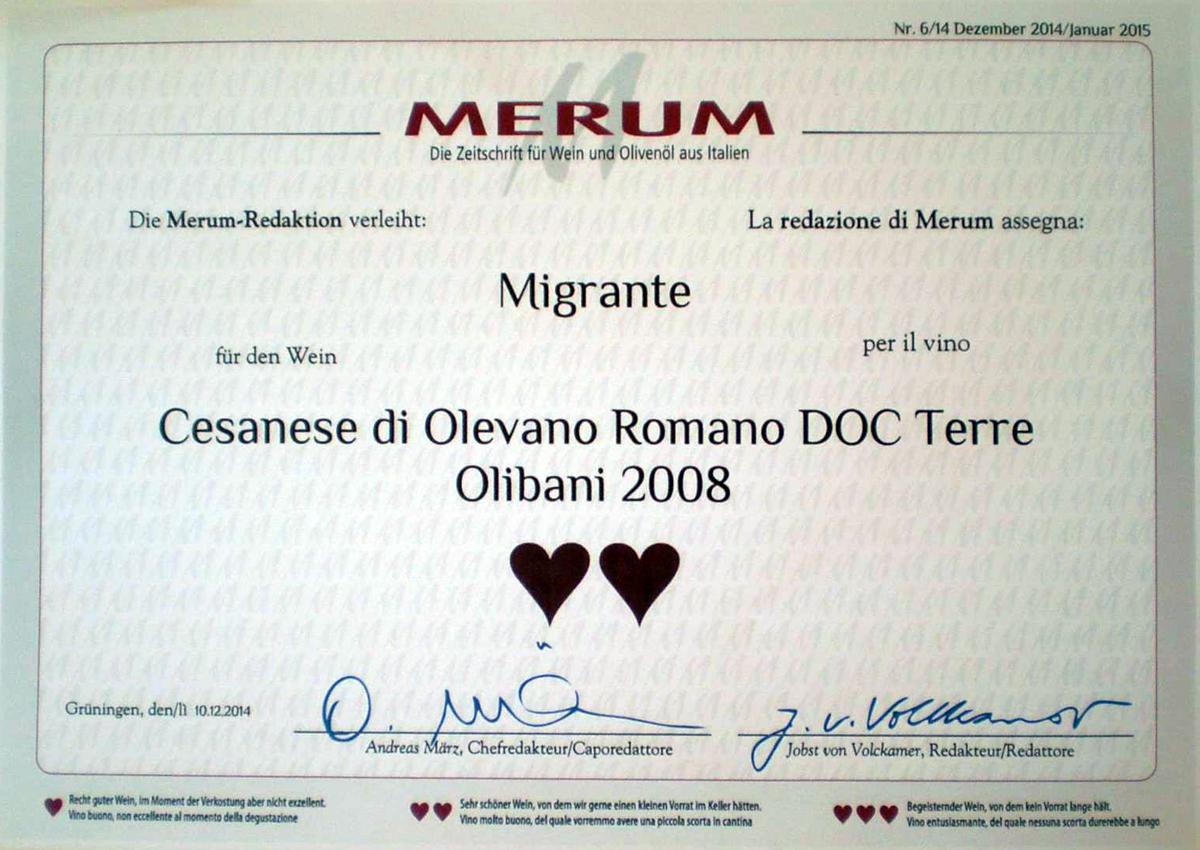 Merum 2014 - Azienda Agricola Migrante - Cesanese di Olevano Romano