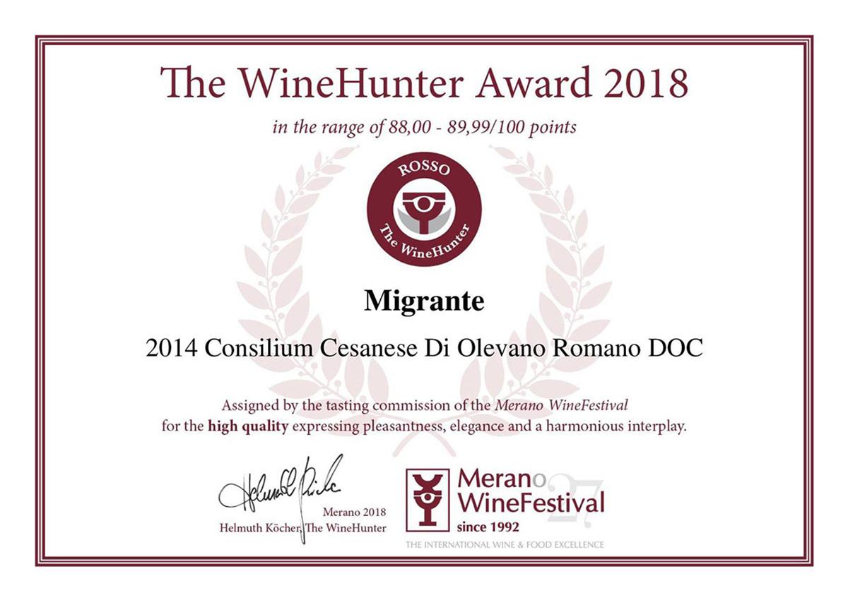 The Wine Hunter Award 2018 - Azienda Agricola Migrante - Cesanese di Olevano Romano