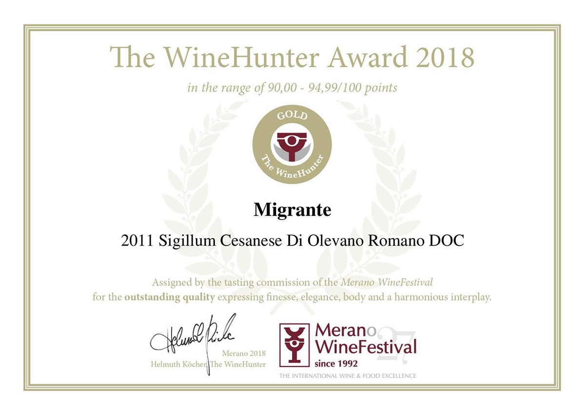 The Wine Hunter Award 2018 - Azienda Agricola Migrante - Cesanese di Olevano Romano